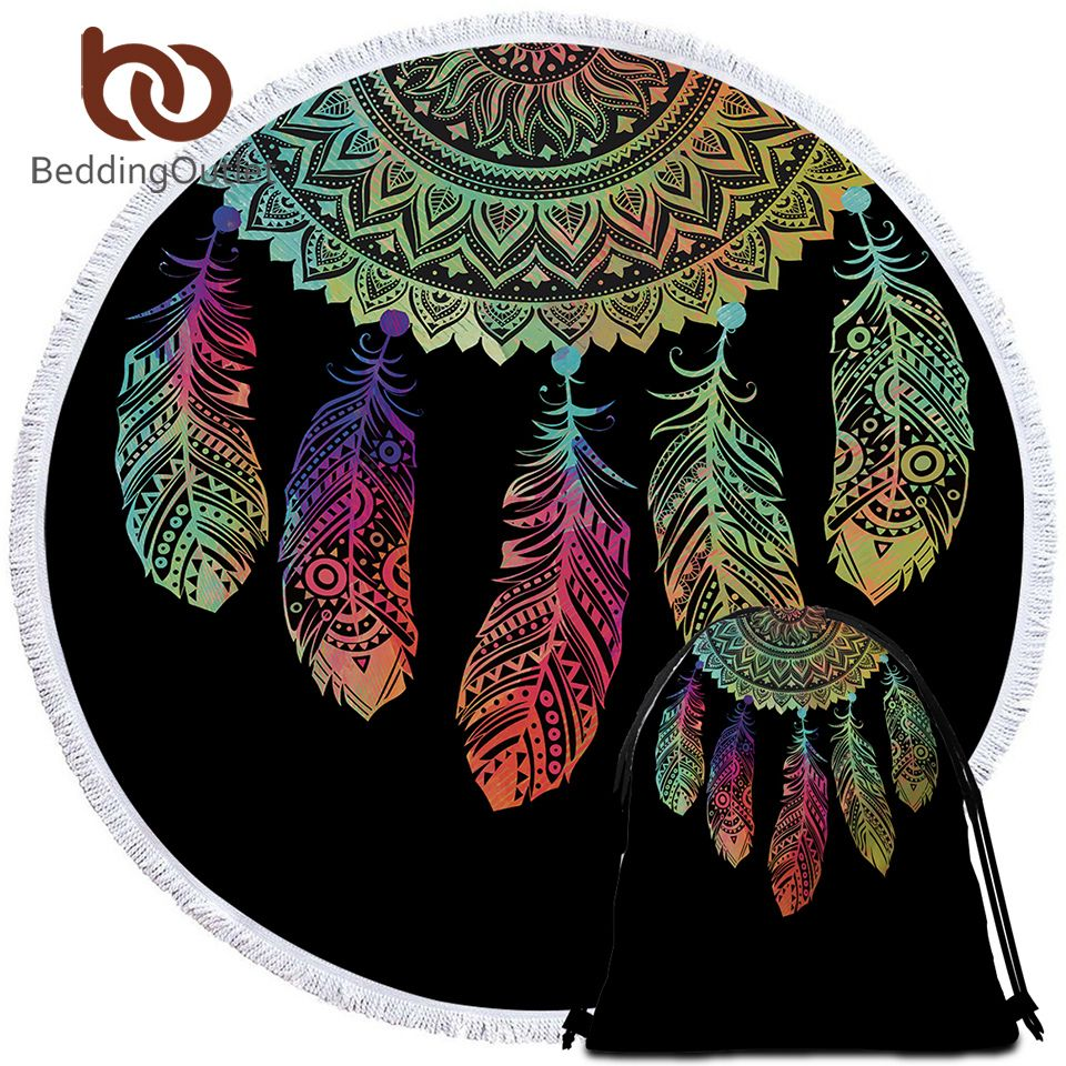 BeddingOutlet Mandala Beach Towel Colorful Dreamcatcher Round Bath Towel With Tassel Toalla Sunblock Blanket Beach Mat Dropship