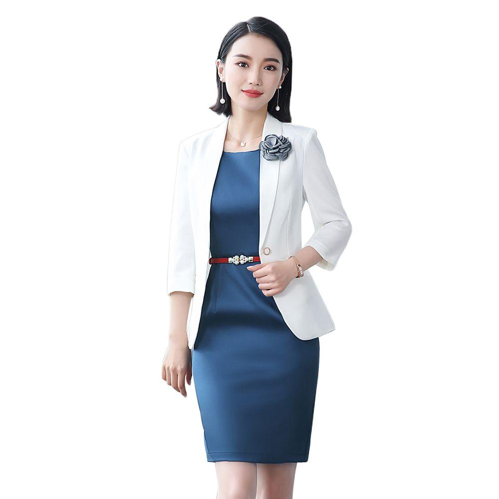 women office dress suits &blazer plus size elegant blue pencil dress white blazer two piece set summer bodycon office dress set