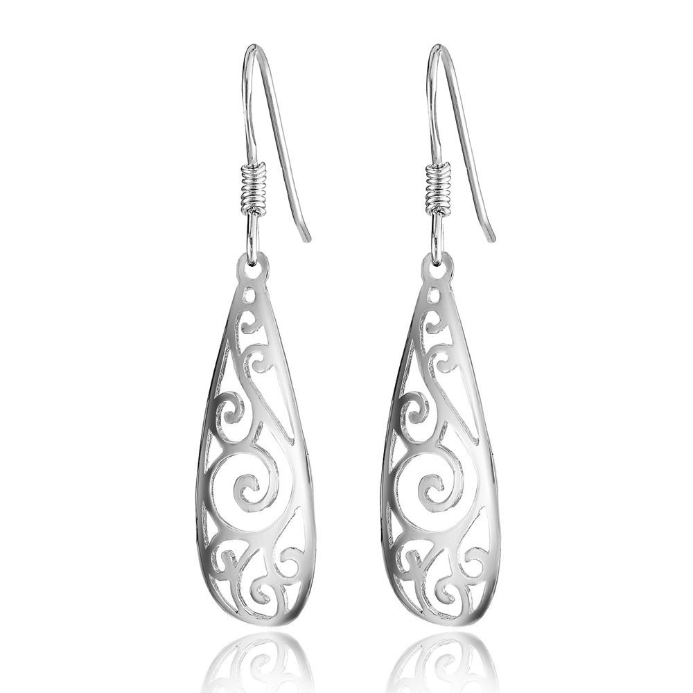 CHP17 women fine jewelry, water drip shaped ear hook with delicate hollow pattern,925 silver earring for beloved girl