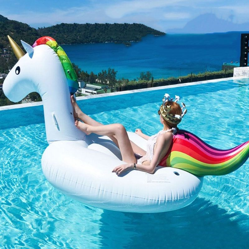 200cm Unicorn Pool Float Inflatable Swimming Ring Water Mattress Circle Swinging Pool Toys For Adults Beach Accessories Boia