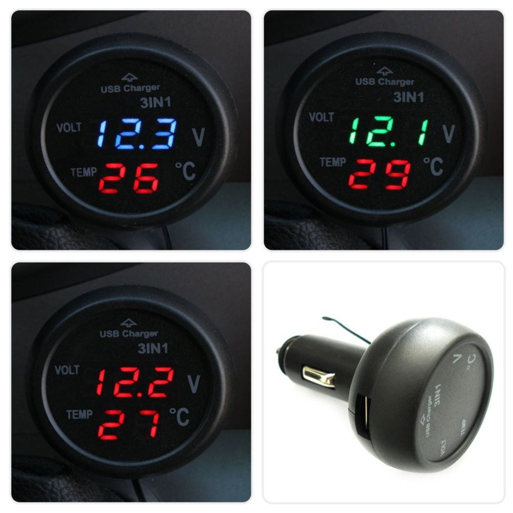 Guaranteed 100% 3 in1 Digital Voltmeter Thermometer 12/24V Cigarette Lighter USB Car Charger Hot Selling Drop Shipping