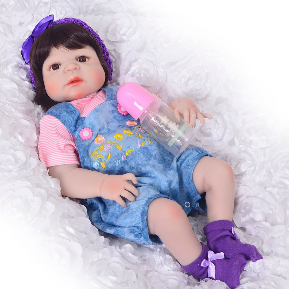 New Arrival Baby Girl Reborn Dolls Kids Toy Full Silicone Vinyl 23'' 57 cm Real Life Bebe Reborn Alive Doll NPK COLLECTION Hot