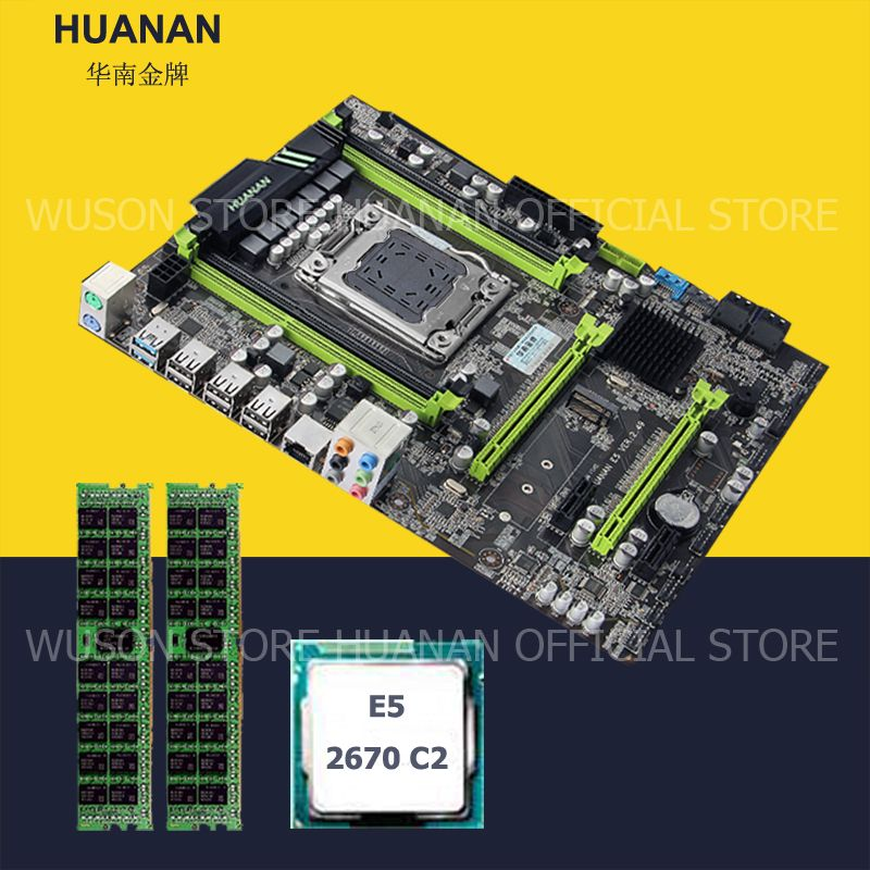HUANAN ZHI motherboard CPU RAM set X79 LGA2011 motherboard CPU Intel Xeon E5 2670 C2 RAM 16G(2*8G) DDR3 1600 REG ECC all tested