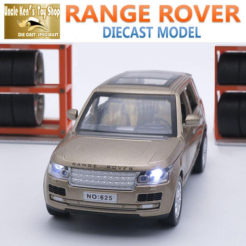 15 CM Longitud Diecast Coche Range Rover, Modelo a Escala 1:32, niños/Niños Juguetes Con 6 Puertas Abrible/Tire Hacia Atrás la Función/Música/Caja de Regalo