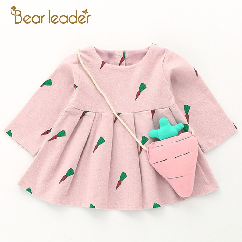Bear Leader Baby Dresses 2018 New Spring Baby Girls Clothes Cute Carrot Printing Princess Newborn Dress Suit For 6M-24M
