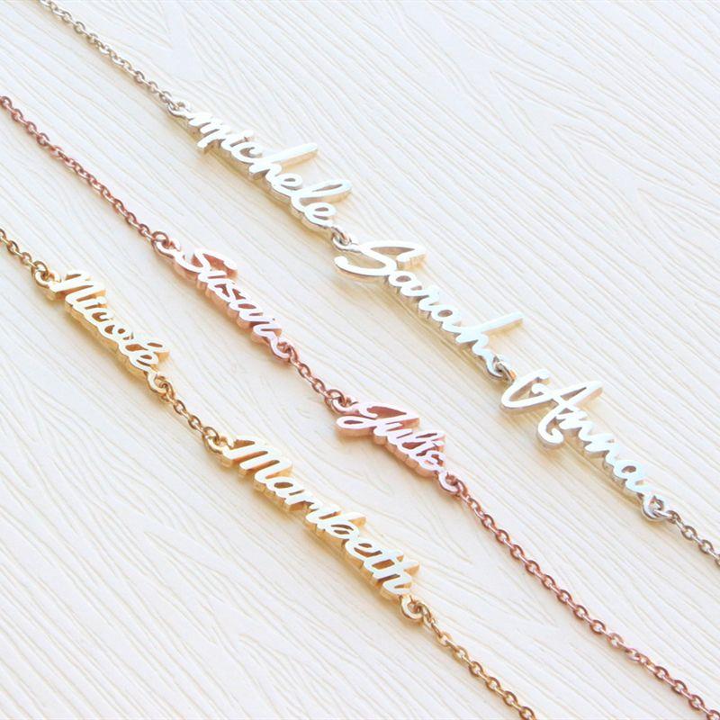 Personnalisé trois nom Bracelet Femme en acier inoxydable Pulseras personnalisé membre de la famille Triple nom Bileklik Bracelets pour maman bébé