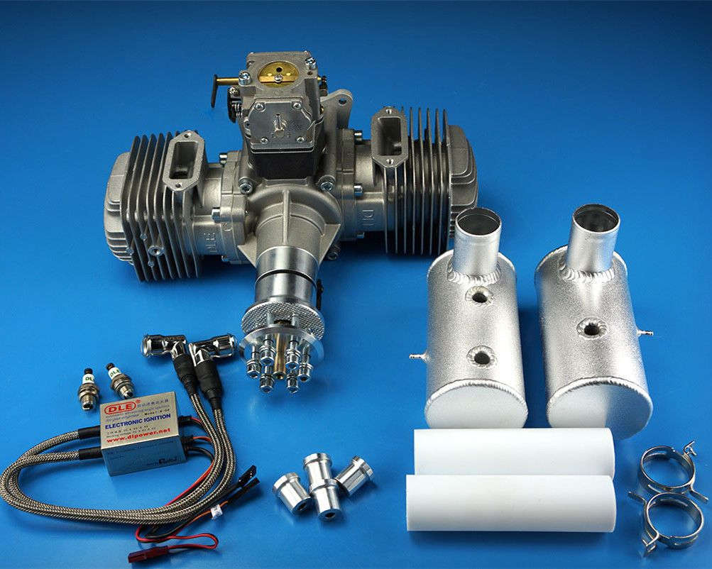 DLE Engines Twin Gasoline Engine DLE-170 DLE170 170cc With Rear Exhaust and Muffler