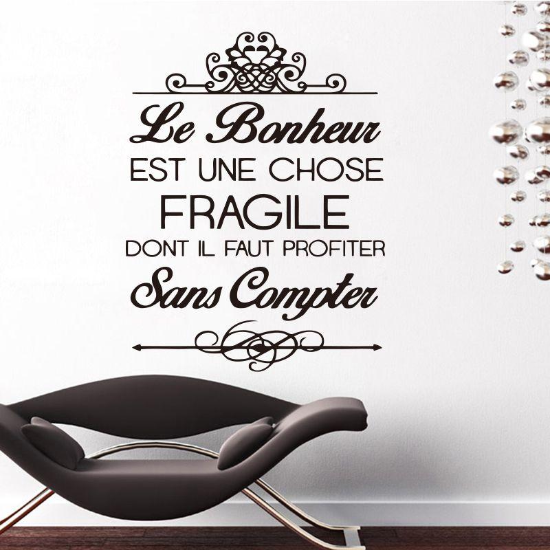 Autocollants Français Citation Bonheur Murale Vinyle autocollant Mural Stickers Art Papier Peint pour Salon décoration d'intérieur Maison DecorationDD0246