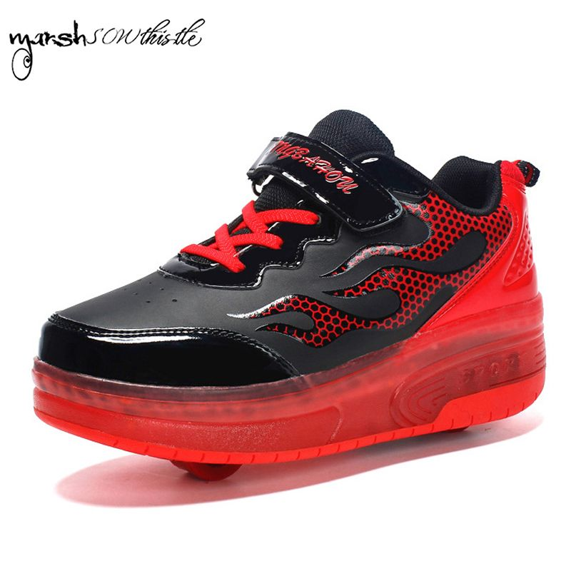 wheels shoes roller shates shoes glowing sneaker kid boy girl invisible automatic pulley single/double wheels wind pattern shoes