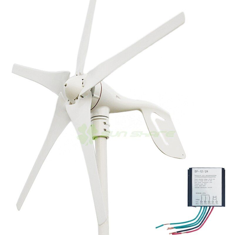 small wind power turbines 5blades 400w, Max 600w wind generators + small wind controller 12v/24v auto change for home ,LED lamp