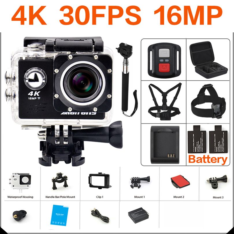 Ultra HD 4K action Camera wifi <font><b>Camcorders</b></font> 16MP 170 go cam 4 K deportiva 2 inch f60 Waterproof Sport Camera pro 1080P 60fps cam