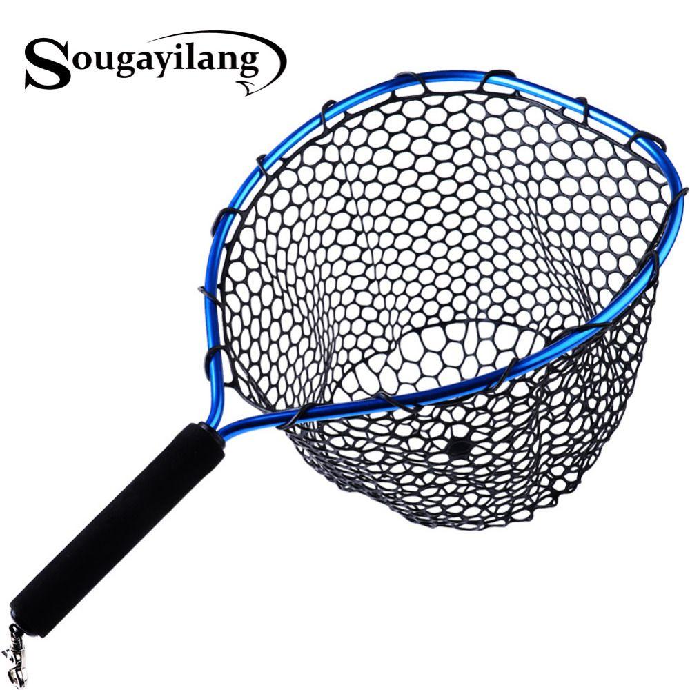 Sougayilang Foldable Fly Fishing Brail Blue Soft Rubber Landing Net 54x30x24cm Eva Handle Fly Cheap Fishing Nets