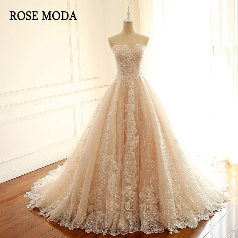 Rose Moda Luxury Blush Pink Wedding Dress French Lace Wedding Dresses 2018 with Train Lace Up Back Bridal Dresses