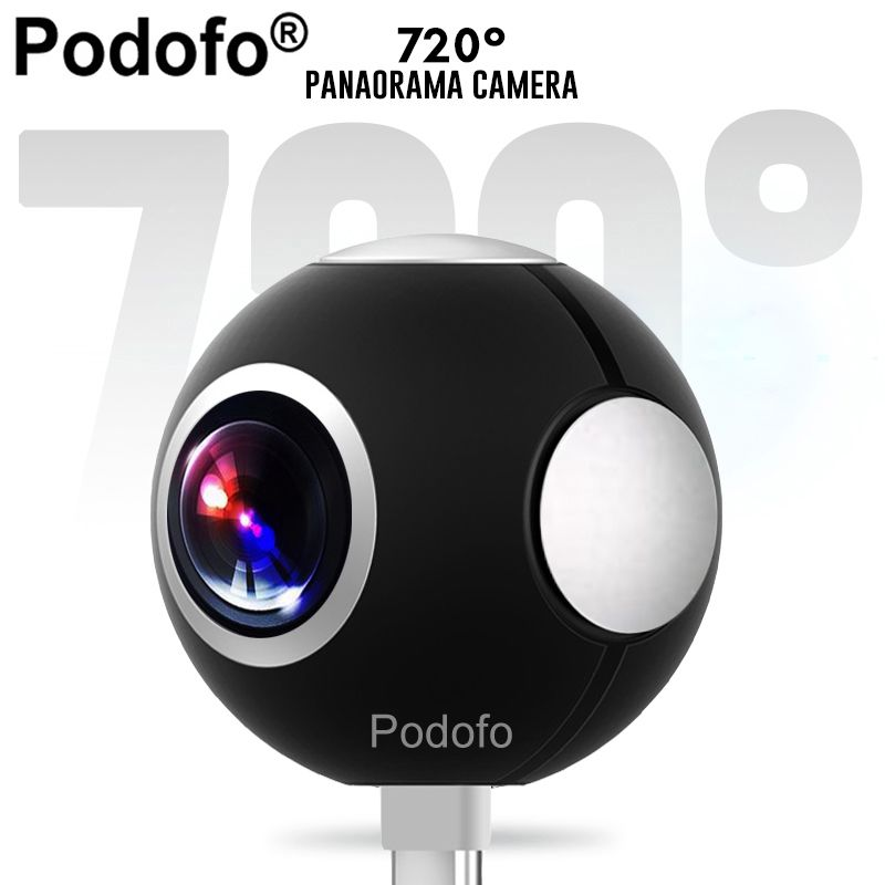 Podofo Mini HD Panoramic 360 Camera Wide Dual Angle Fish Eye Lens VR Video Camera for Smartphone Type-c USB Sport & Action Cam