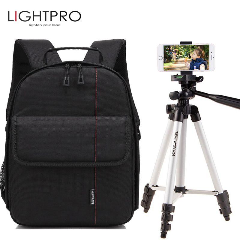 P1 Waterproof Digital DSLR Photo Padded Backpack w/ Rain Cover Bag Case w/ WT-3110A Photo Camera Tripod Stand w/ Phone Clip