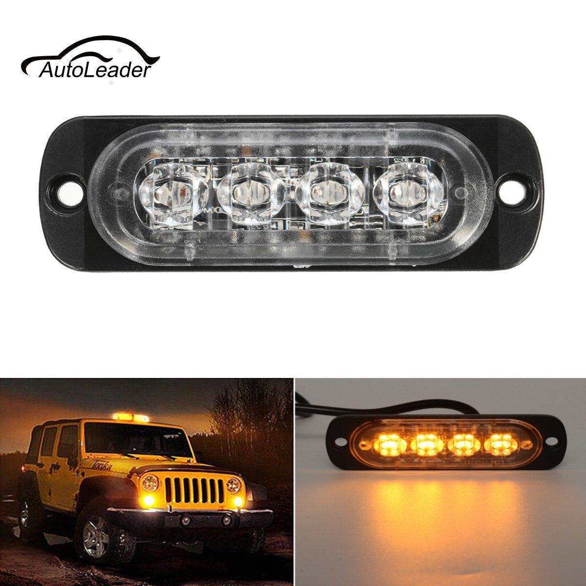 4 LED Car Truck Flash Emergency Beacon Warning Light Bar Hazard Strobe Amber