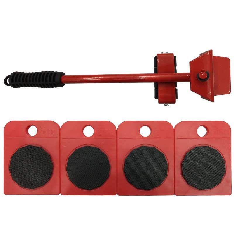 5pcs Hand Tool Set Furniture Transport Set Furniture Lifter & Furniture Slides (Mover Rollers) 4 Wheeled Corner Movers + 1 Wheel