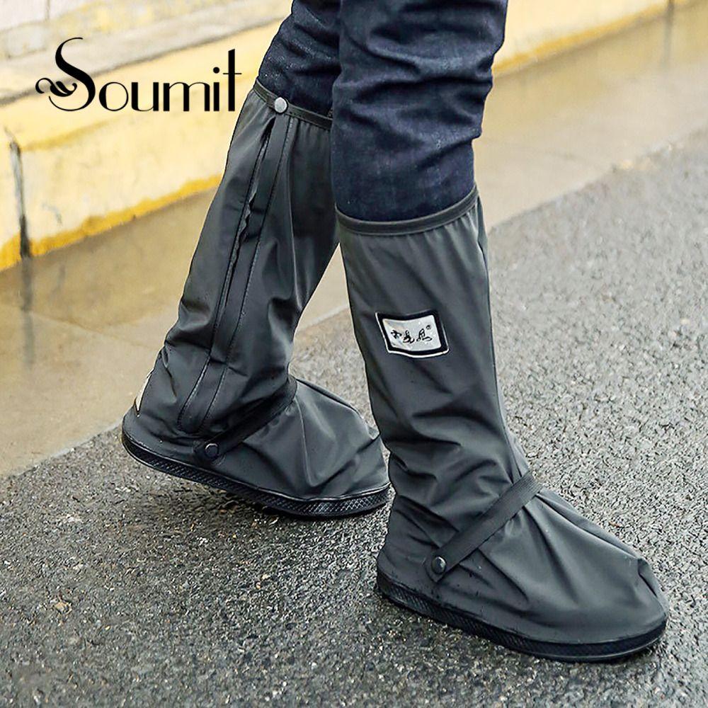 Soumit Chaussures de Vélo Couverture Étanche Coupe-Vent Pluie Bottes Noir Réutilisable Couvre-chaussures pour Hommes Femmes Vélo Couvre-chaussures Boot Chaussures