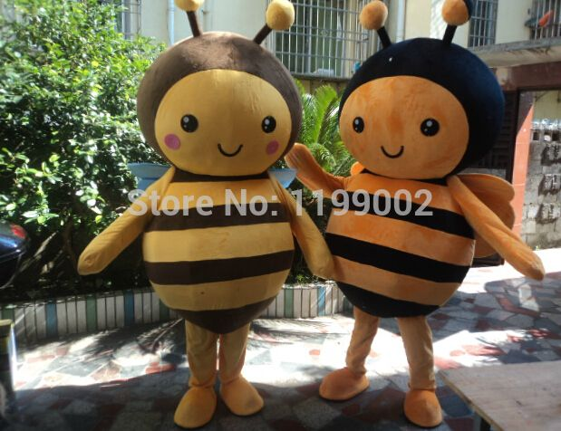 Adult size mascot costume bee, cute bee mascot 2 pieces free shipping