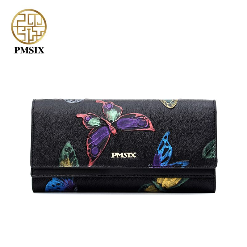 Pmsix Fashion Genuine Leather Hand Bag Women Clutch Wallet Butterfly Embossing Retro Ladies Clutch Money Bag P410007