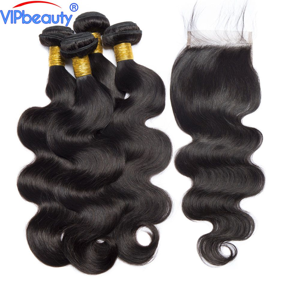 Peruvian body wave 3 bundles with closure VIP beauty 100% human hair bundles with closure non remy hair extension