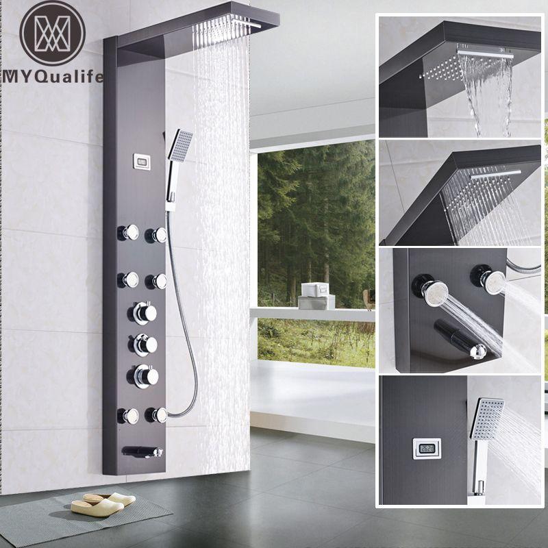 Wasserfall 6 stück Massage Jets Regen Dusche Spalte Thermostat Dusche Wasserhahn Turm W/Hand Dusche Badewanne Auslauf Schwarz dusche Panel