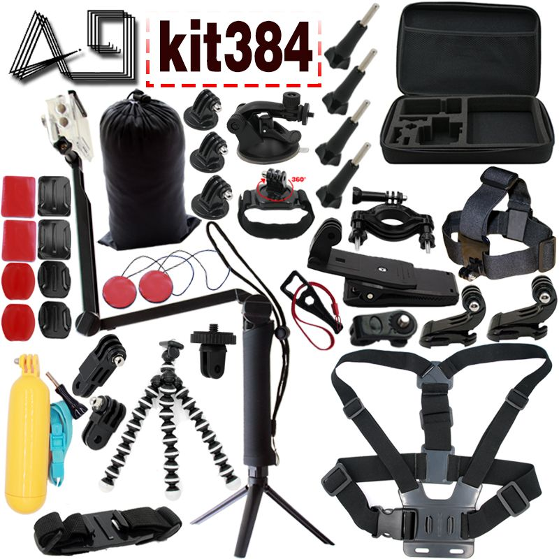 A9 For Gopro accessories set for Go pro 5 4 / Xiao mi yi / SJCAM SJ4000 mount Monopod for  tripod and Sony action Cam with case