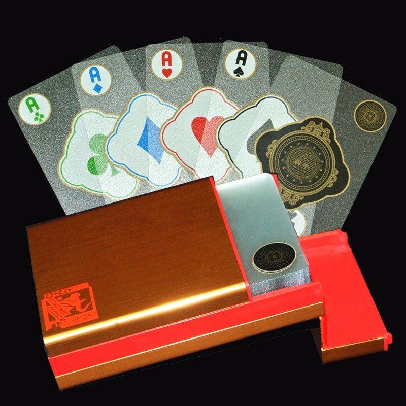 Llegan nuevos De Aluminio/Caja De Plástico Transparen etiqueta engomada del PVC Transparente de Plástico Naipes Poker Colección de Regalos de Alta Calidad Duradera