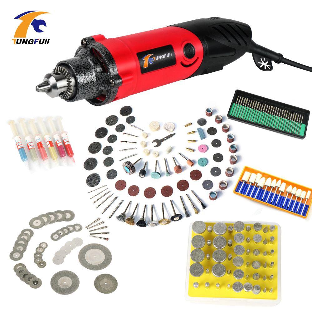 500 W Mini perceuse électrique À Vitesse Variable moulin Machine avec Gravure Accessoires pour Dremel Outil Rotatif 0.6 ~ 6.5mm