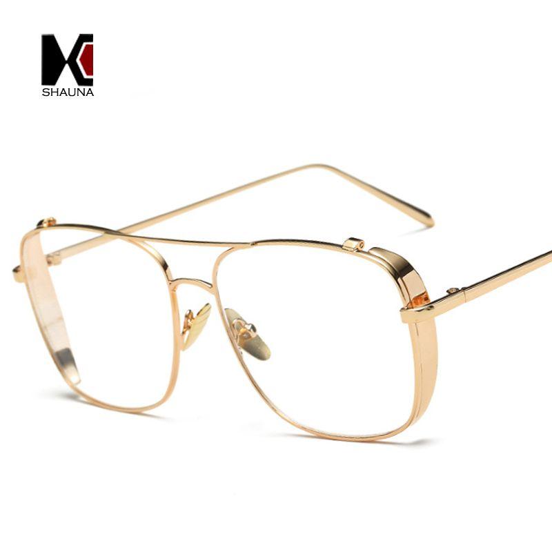 SHAUNA Retro 3 Colors Women Punk Plain Glasses Frame Brand Designer Fashion Men Square Metal Frame Clear Lens Eyeglasses