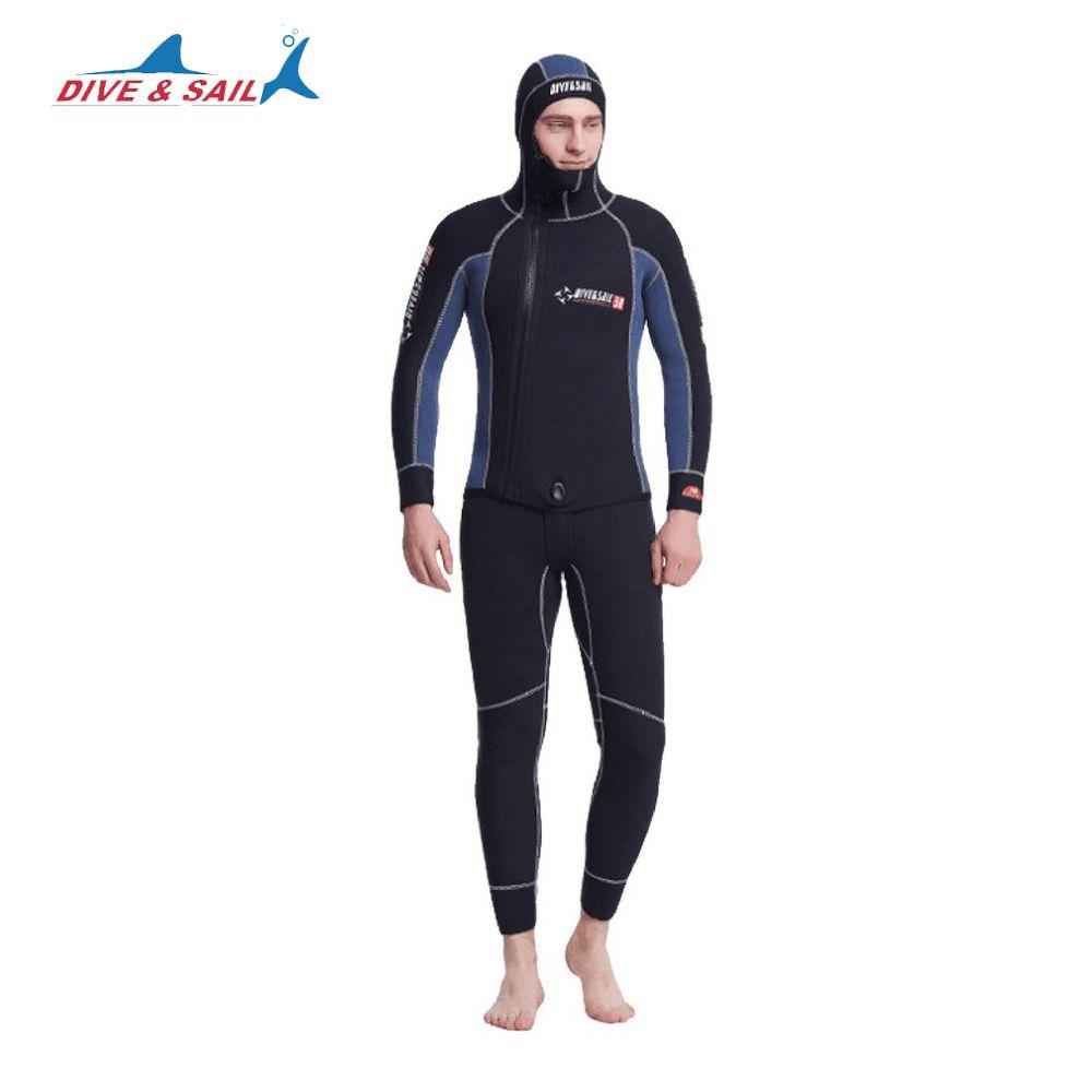 DIVE&SAIL Diving Suit 5MM Neoprene Scuba Cloth Double Warm Wetsuit With Hood Zipper Professional Split Spearfishing Wet Suit