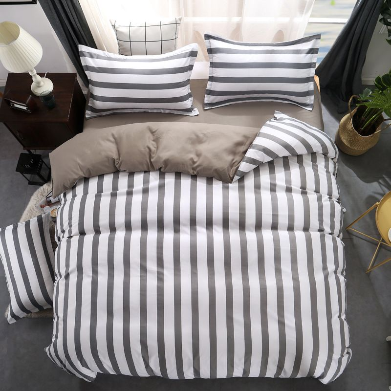 Black white Grey Classic bedding set striped duvet cover white bed linen set Geometric flat sheet set queen bed set Fashion new