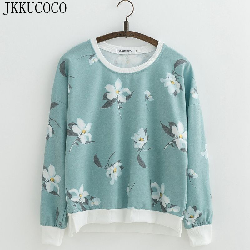 JKKUCOCO Hot sell Orchid Flowers Print Sweatshirts for Women sweatshirt Loose Cotton Hoodies O-neck Pullovers Female 22 Color