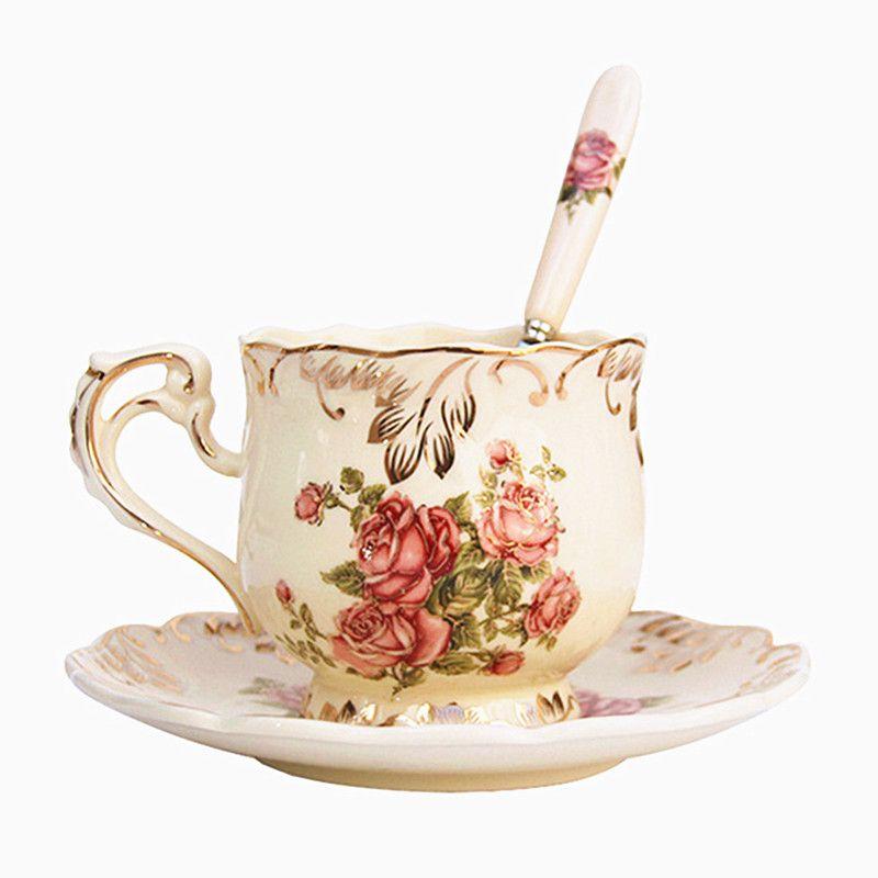 Yolife ivoire porcelaine tasse à café soucoupe cuillère ensemble élégant lumière luxe expresso tasses Style beau cadeau 250ML
