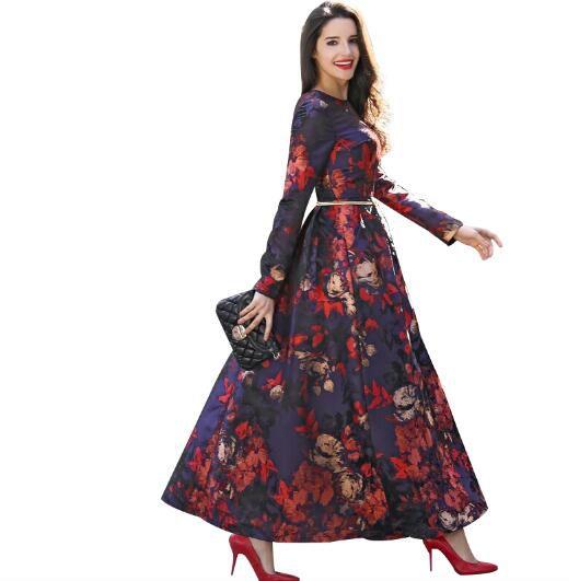 Neue mode gedruckt maxi vintage kleid frauen kleidung voller länge ziemlich partei schlank blumen o neck 5982