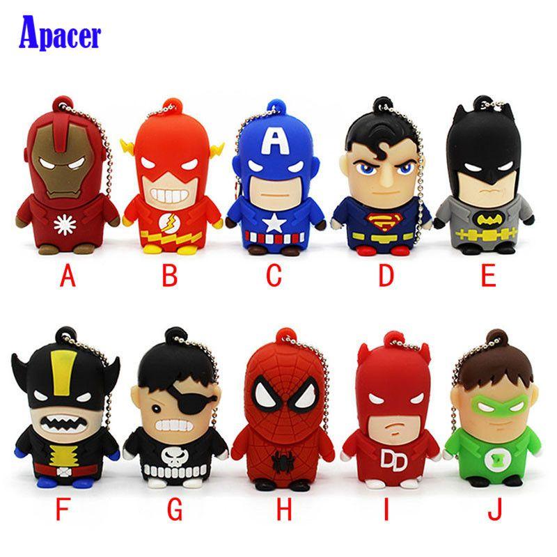 Apacer Best Gift superhero avenger/Superman/Batman/Spider Man pendrive 4G 8G 16G 32G 64G Usb 2.0 Usb flash drive