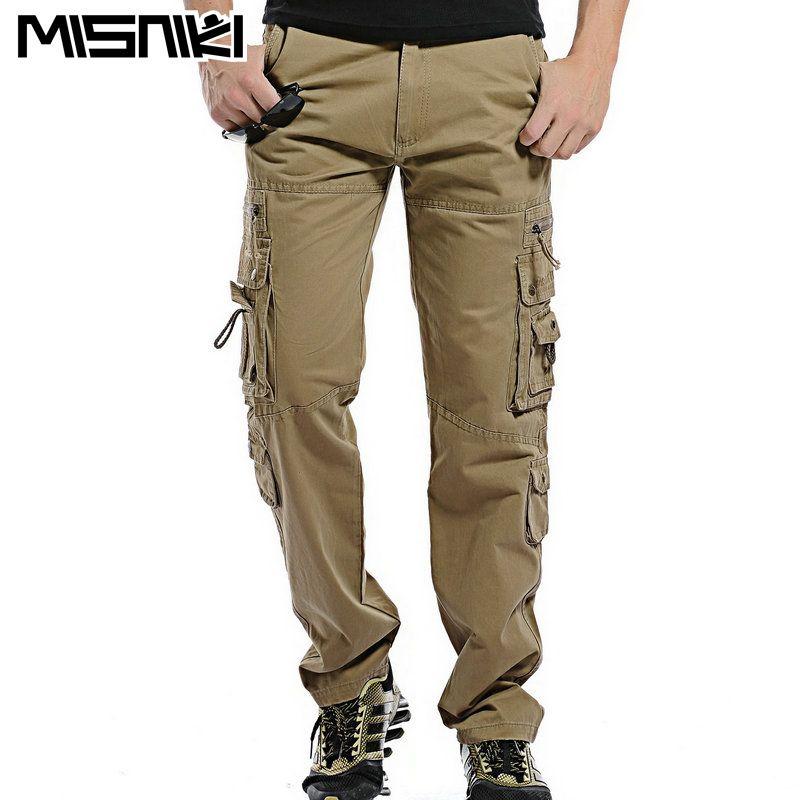 MISNIKI Top Fashion Solid Cotton Cargo Pants Men Casual  Men Trousers Size 28-38