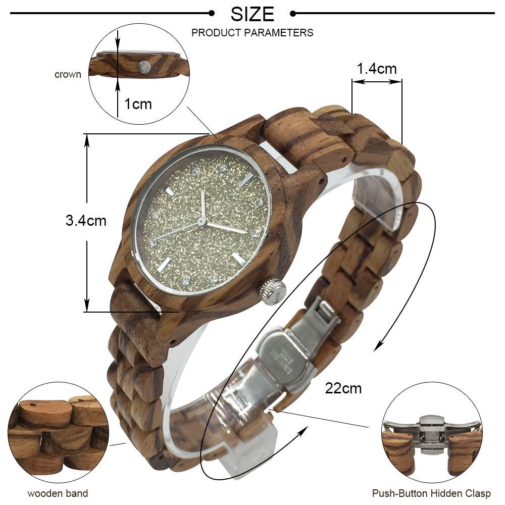 DWG Women Watches Fashion Glitter Dial Dress Women Ladies Quartz Wristwatch Retro Zebra wooden Strap Wood Watch With Box Clock