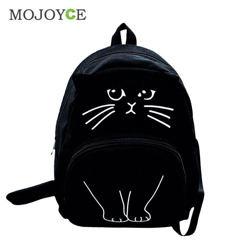Cute 3D Cat Printing Backpack Women Canvas Backpack Large Capacity Backpacks For Teenager <font><b>Girls</b></font> Female Schoolbag Travel Rucksack