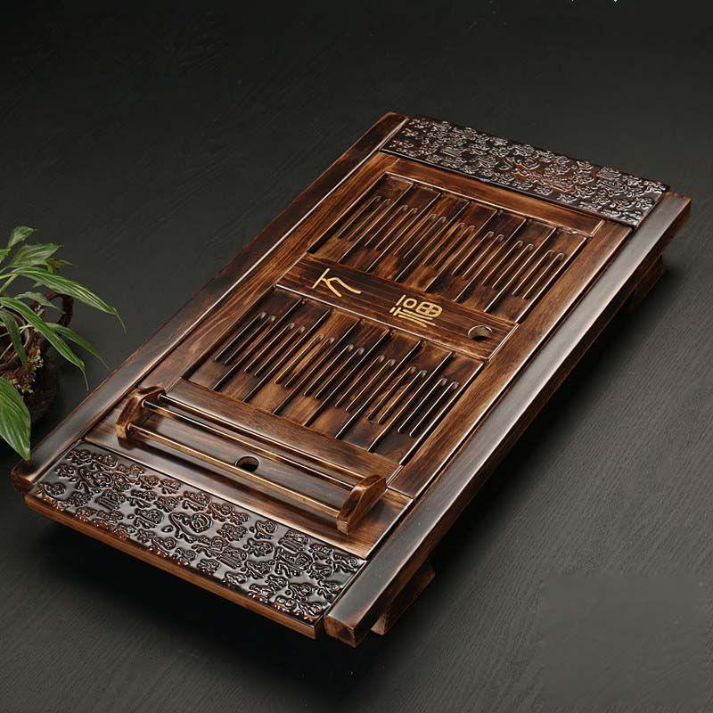Chinese Festen Holz Tee Zubehör Drinkware Tee Tablett Tee Kung Fu Tee-Set Tisch Schublade Typ Gongfu Lagerung Entwässerung Tablett