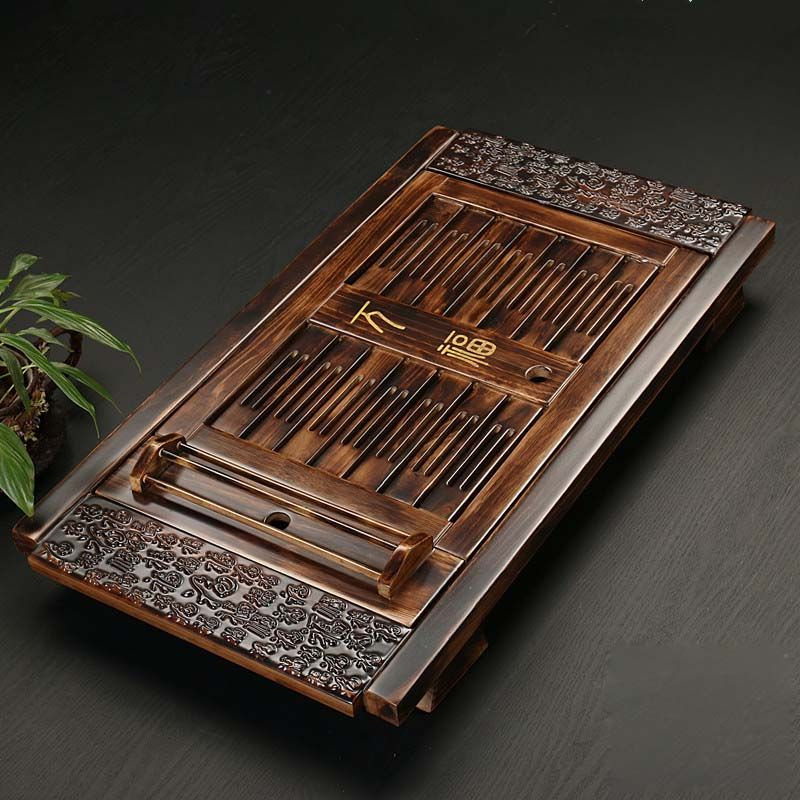 Chinese Solid Wooden Tea Accessories Drinkware Tea Tray Tea Kung Fu Tea Set Table Drawer Type Gongfu Storage Drainage Tray