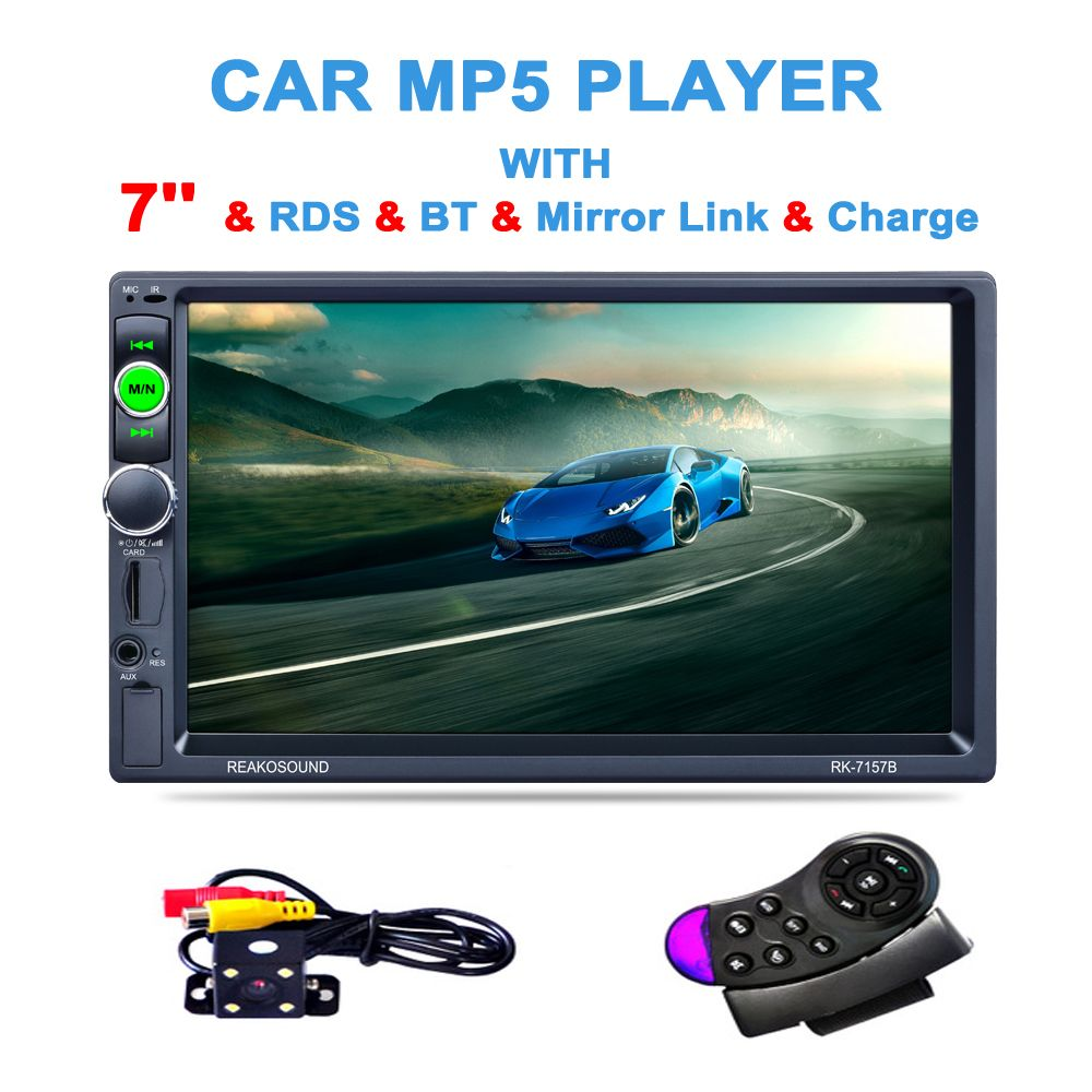 7 1080P HD Touch Car Audio <font><b>Stereo</b></font> MP5 Player with Camera Support Bluetooth Handsfree Steering Wheel Remote Control USB TF AUX