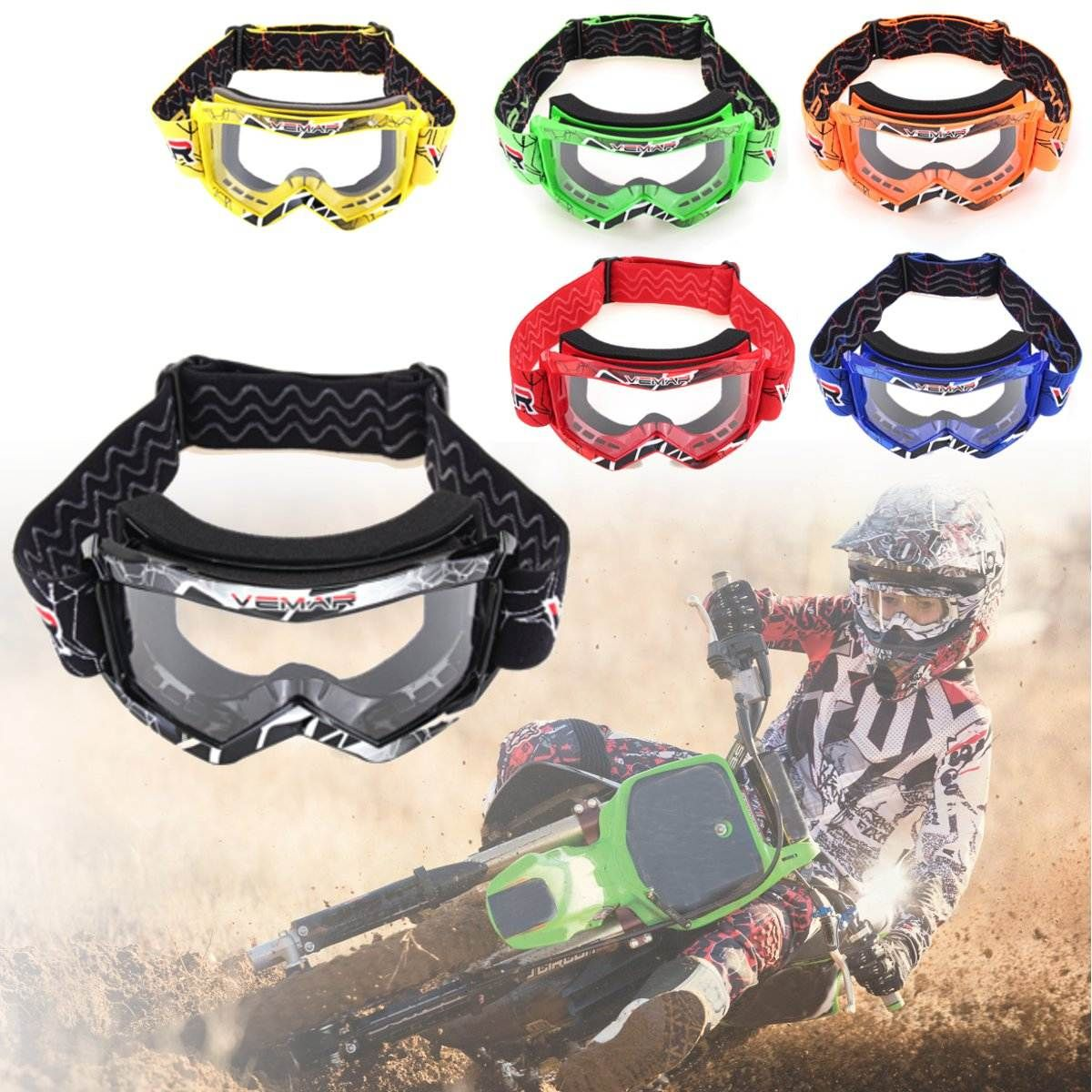 Children Kids Cool Goggles Off Road Motorcycle Motocross Racing Dirt Bike Anti-UV Eyewear New Adjustable Flexible Protect Face