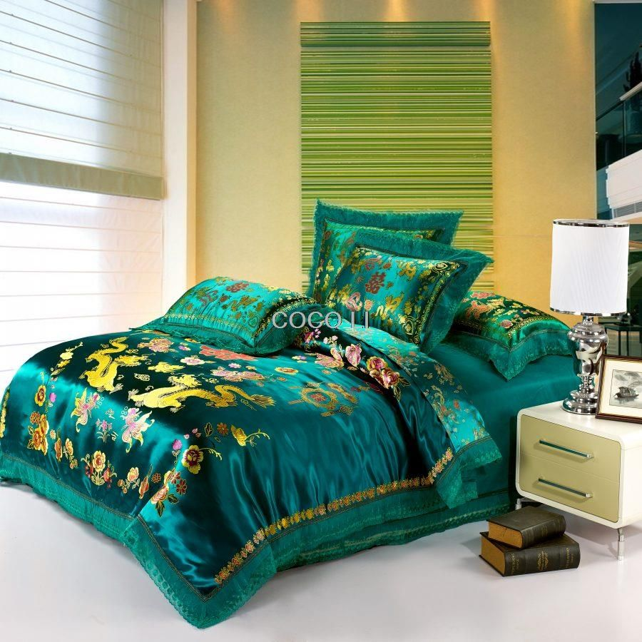 green satin Duvet Cover set Dragon and phoenix chinese Wedding Bedding set print Modern suits Jacquard Bedclothes