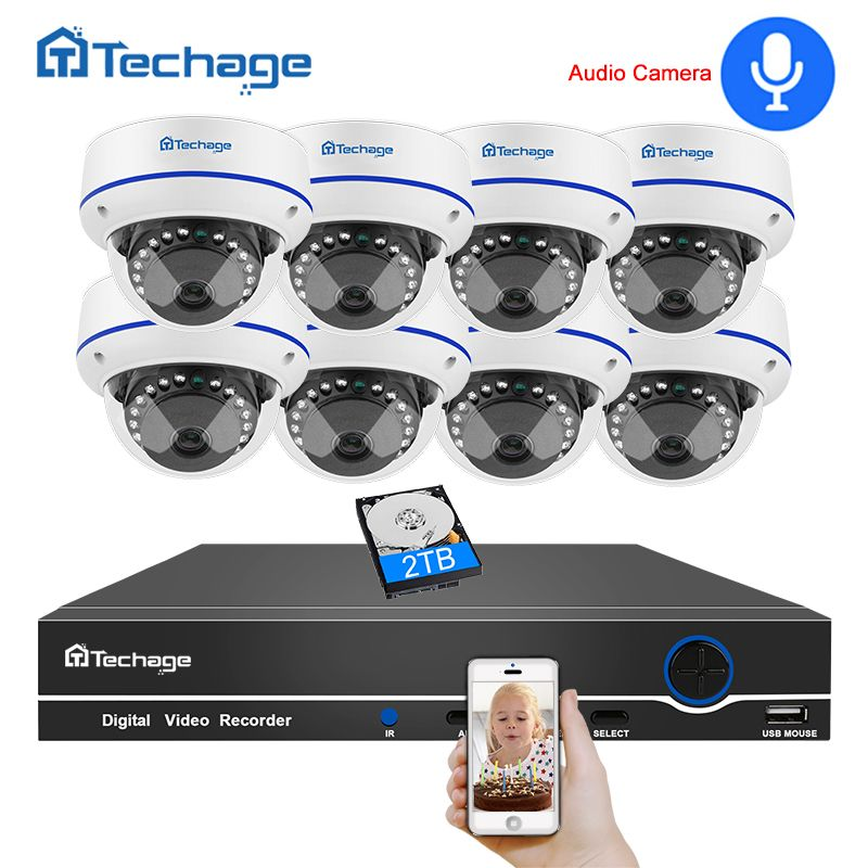 Techage 8CH CCTV Security System 1080P 2MP POE NVR Kit Audio Record Dome Indoor POE IP Camera P2P Video Surveillance Set 3TB HDD