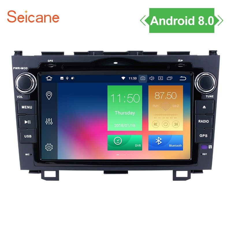 Seicane 8 inch Android 8.0 Car DVD Player for 2006-2011 Honda CRV with 1024*600 Bluetooth WiFi Mirror Link AUX GPS Support DVR