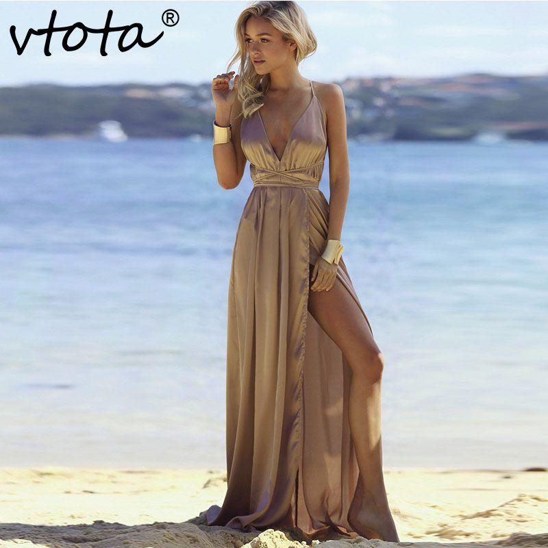 VTOTA Maxi Dress 2018 Women Deep V Neck Backless Long Dress Split Cross Summer Beach Dress Sleeveless Party Club Sexy Dress A11