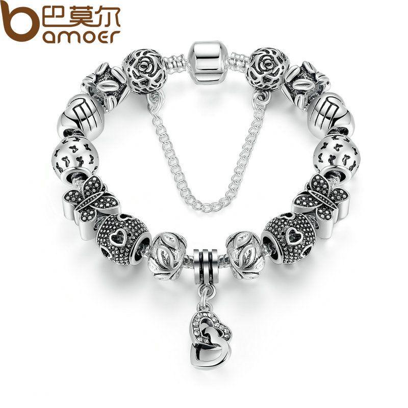 BAMOER Silver Color Safety Chain Friendship Bracelets with Heart & Heart Pendant Butterfly Beads Bracelets Jewelry PA1493