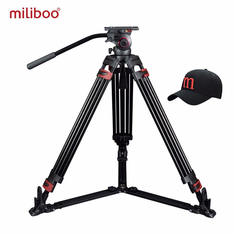Miliboo trépied Portable MTT609A/B trépied de caméscope vidéo professionnel en aluminium/fiber de carbone VS trépied manfrotto robuste 15 KG