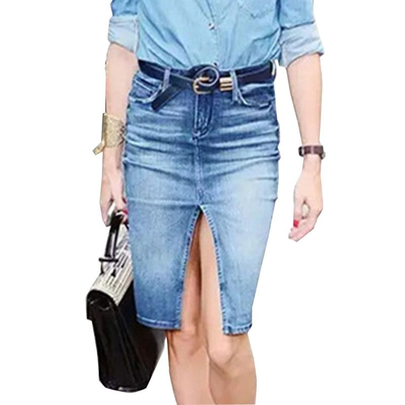 Fashion Split Jeans Skirt Autumn Mid Waist Straight Denim Skirts Woman Plain Sexy Pencil Skirt Office Midi Skirts Bottoms Female